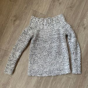 Dynamite off the shoulder fuzzy sweater